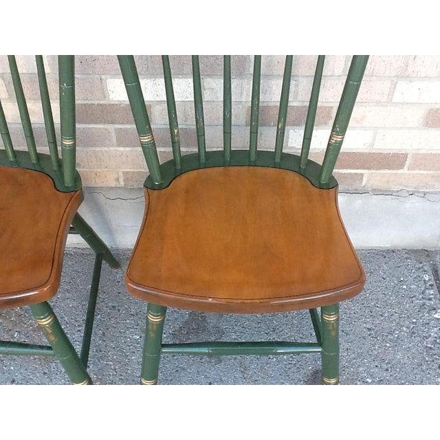 Americana Vintage Hitchcock Windsor Style Stick Back Chairs - Set of 4 For Sale - Image 3 of 5