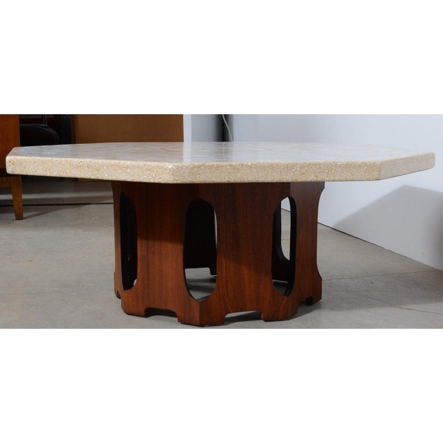Brutalist 1960s Mid Century Modern Harvey Probber Terrazzo and Walnut Hexagon Cocktail Table For Sale - Image 3 of 5