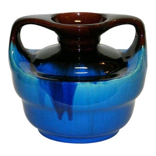 Japanese Kyoto Pottery Turquoise Drip Glaze Vase For Sale