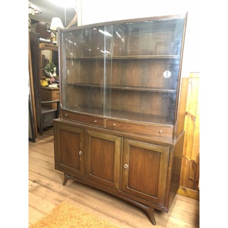 1960s Mid Century Modern Dark Walnut China Cabinet With Curved Glass Doors Preview