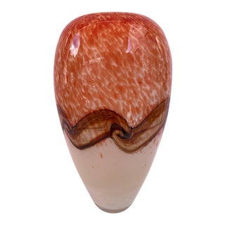 Mottled Orange & White With Scrolling Waves of Amber and Brown Art Glass Vase For Sale