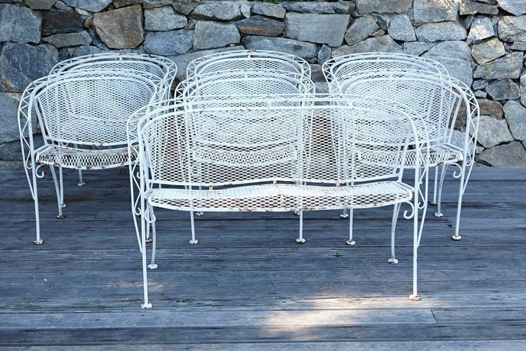 Complete Mid Century Modern Iron Patio Set With Sculpted Frame, Barrel Back  Rests And