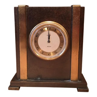 Vintage 1950's Tiffany & Co. By Elgin Art Deco Bronze Travel Desk Clock For Sale