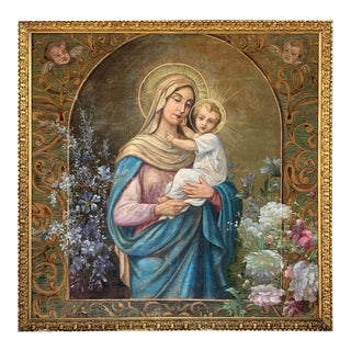 19th Century Hand Painted Tapestry Depicting Madonna With a Child For Sale
