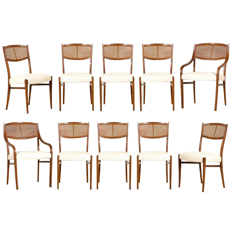 Set Of Ten 1960s Walnut Cane Dining Chairs By Barney Flagg