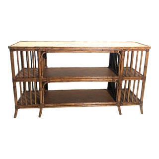 20th Century Boho Chic Ethan Allen Fiji Bamboo Rattan Console Sofa Table