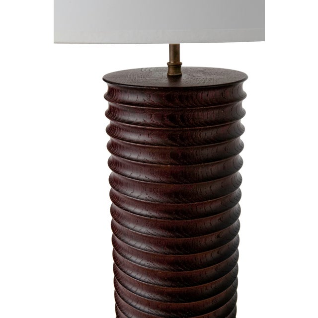 Modern Turned Oak Table Lamp - Image 4 of 6