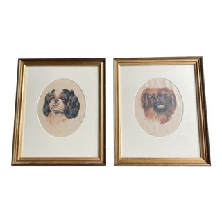 Antique English Cavalier King Charles Spaniel Signed Watercolor Portraits, Framed - a Pair For Sale