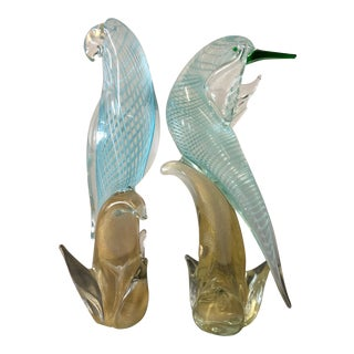 1960s Vintage Archemide Seguso Style Murano Bird Figurines - a pair For Sale