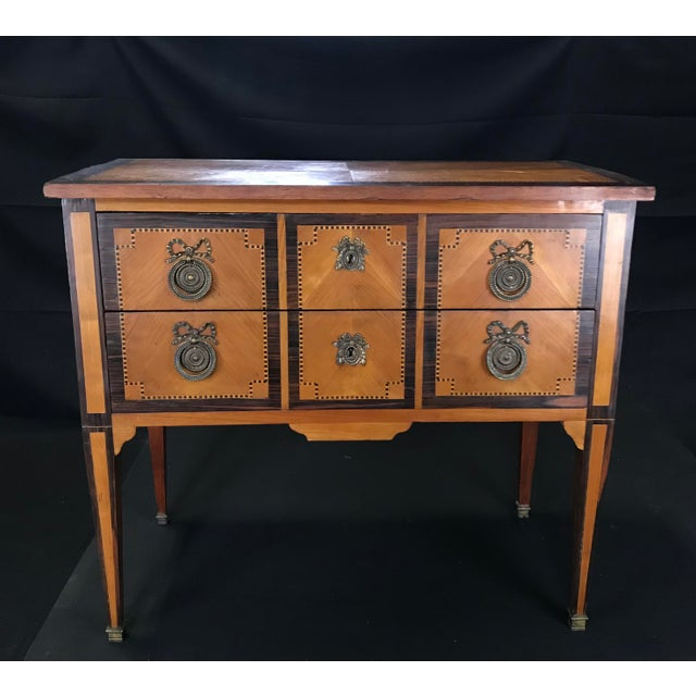French Louis XVI Style Petite Marquetry Inlaid Two Drawer Commode For Sale - Image 13 of 13