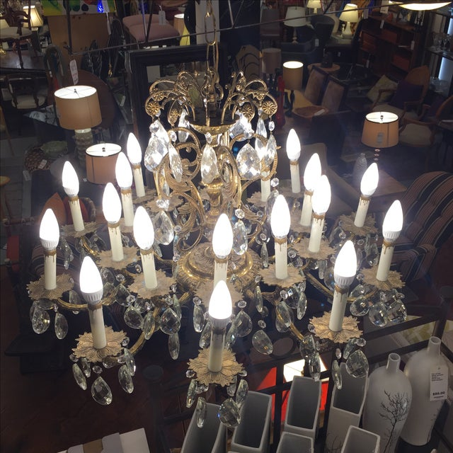 Vintage Twenty Light Crystal Chandelier - Image 7 of 11