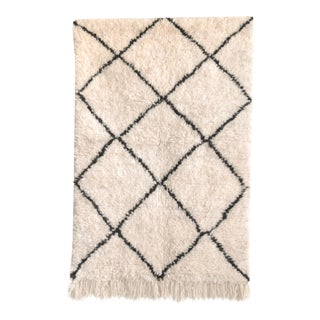"Vintage Moroccan Beni Ourain Accent Floor Rug - 3'1"" × 4'8"""