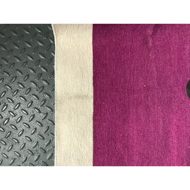 Flatwoven Dhurrie Pink on Black & White Striped Rug - 8′ × 10′ - Image 4 of 6