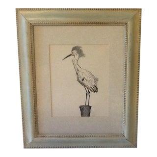 Vintage Framed & Matted Ink Egret Drawing For Sale