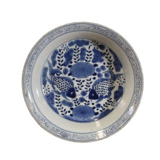 Chinese Blue White Fishes Fengshui Graphic Porcelain Plate For Sale
