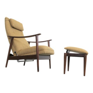 Danish Modern Arnt Lande Teak Adjustable Lounge Chair & Ottoman For Sale