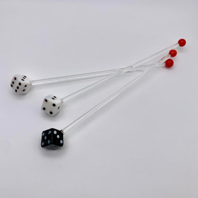 Mid-Century Modern Vintage Glass Dice Drink Stirrers For Sale - Image 3 of 8
