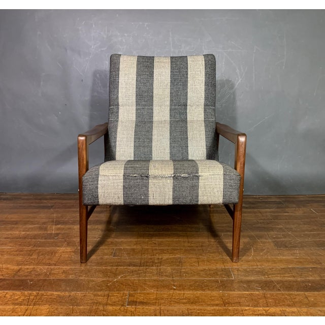 1960s Scandinavian Striped-Wool & Walnut Lounge Chair For Sale - Image 4 of 9