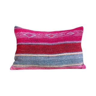Kim Salmela Modern Multi-Striped Peruvian Kilim Lumbar Pillow For Sale