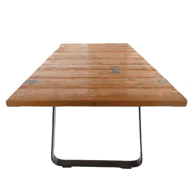 Industrial Reclaimed Wood Table For Sale - Image 3 of 8