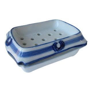 Vintage Blue & White Porcelain Soap Dish For Sale