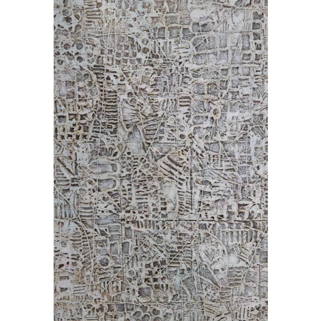 Abstract Brutalist Style Textured Art on Masonite For Sale - Image 9 of 10