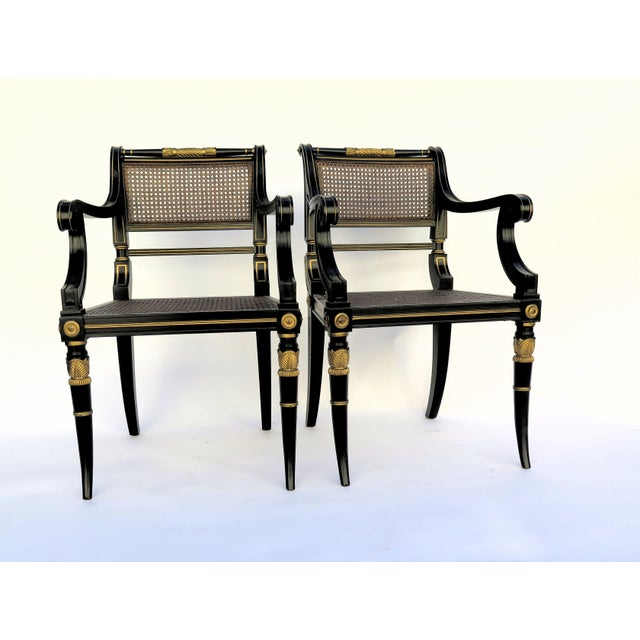 Baker Mahogany Caned Chairs - a Pair - Image 2 of 7