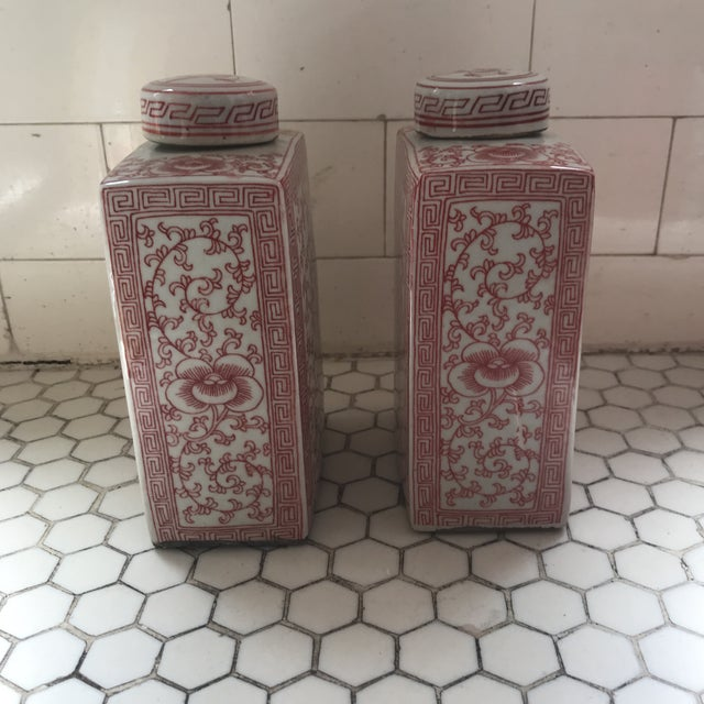Chinese Chinoiserie Coral & White Porcelain Ginger Jars - a Pair For Sale - Image 9 of 11