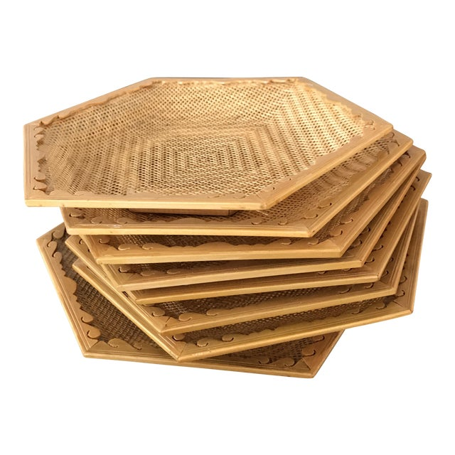 Wooden & Wicker Coasters - Set of 8 - Image 1 of 5