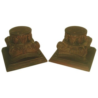 19th Century Walnut Plateau Capitals - A Pair