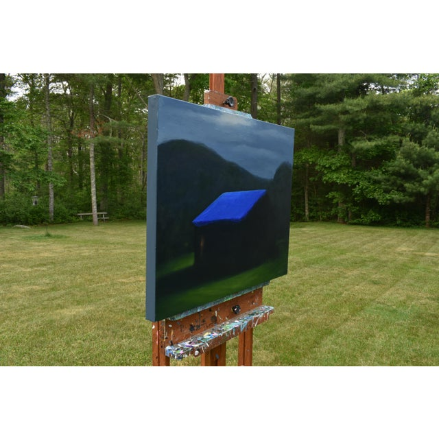 """Blue """"Temporary Fix With a Storm Approaching"""" Painting For Sale - Image 8 of 12"""