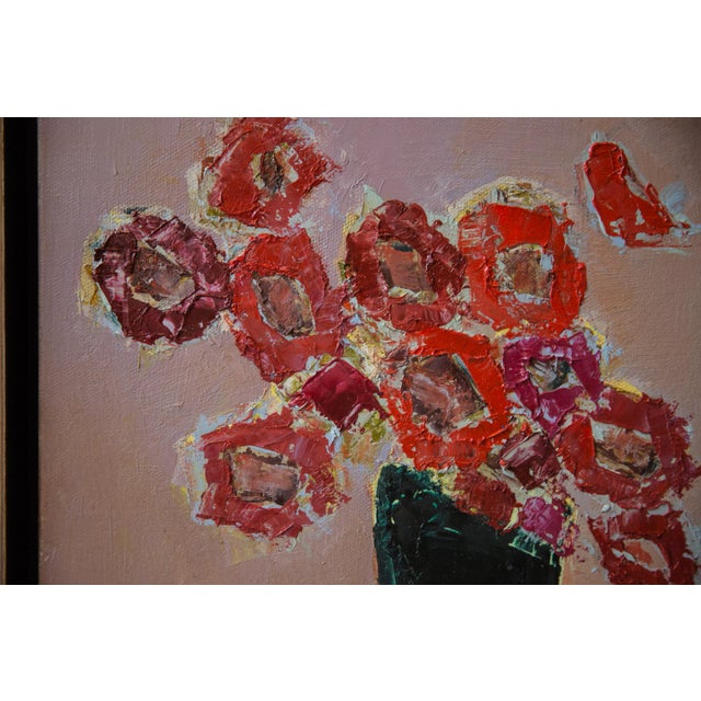 """Bill Tansey """"Red"""" Abstarct Floral Oil Painting on Canvas For Sale - Image 4 of 5"""