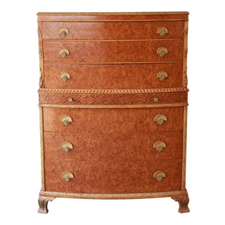 Antique Burled Maple French Carved Highboy Dresser by Romweber For Sale