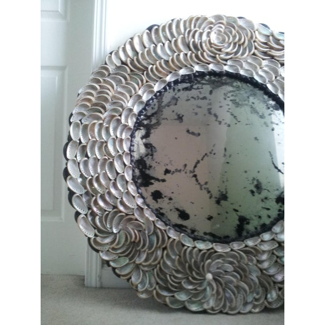 Abalones Shell Mirror With Antique Glass For Sale - Image 10 of 12