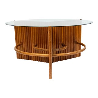 American Art Moderne Pine and Glass Coffee Table For Sale