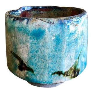 Raku Fired Ceramic Tea Bowl For Sale