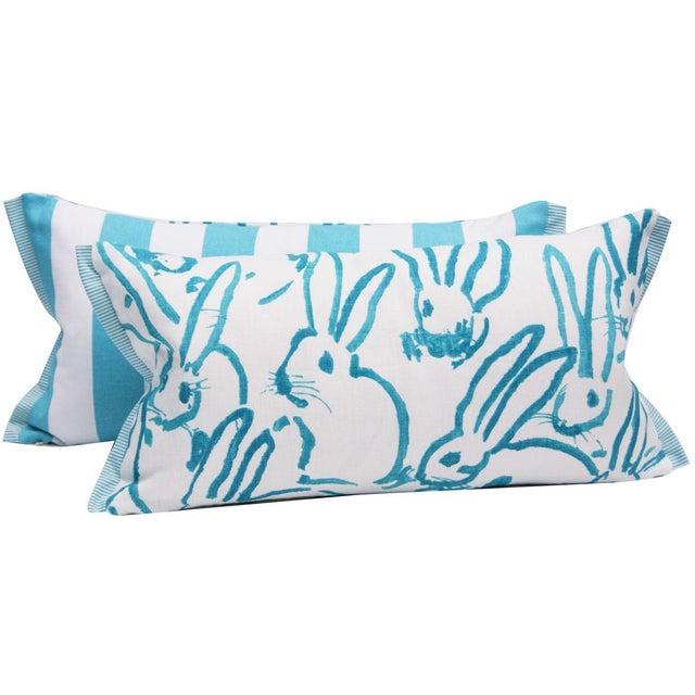 Contemporary Contemporary Hutch Print Aqua Bunny Fabric Lumbar Pillow - 11x21 For Sale - Image 3 of 7