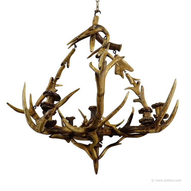 Antique Black Forest Antler Candle Luster 1900 For Sale - Image 13 of 13