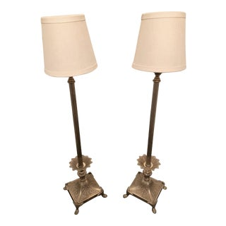 Frederick Cooper Twyla Nickel and Brass Table Lamps - A Pair