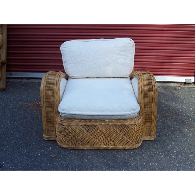 1980s Jay Spectre Rattan Steamer Lounge Chair For Sale - Image 5 of 5
