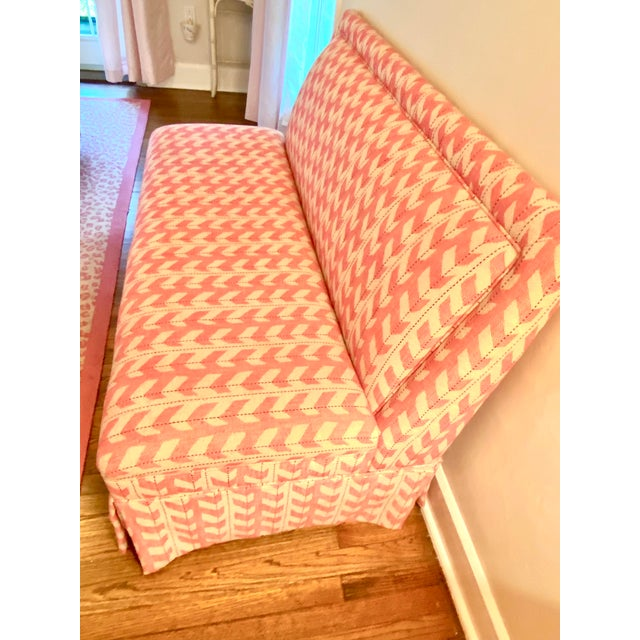Custom banquette with removable custom upholstery (velcro and fitted). Armless bench setee. Like new condition and perfect...