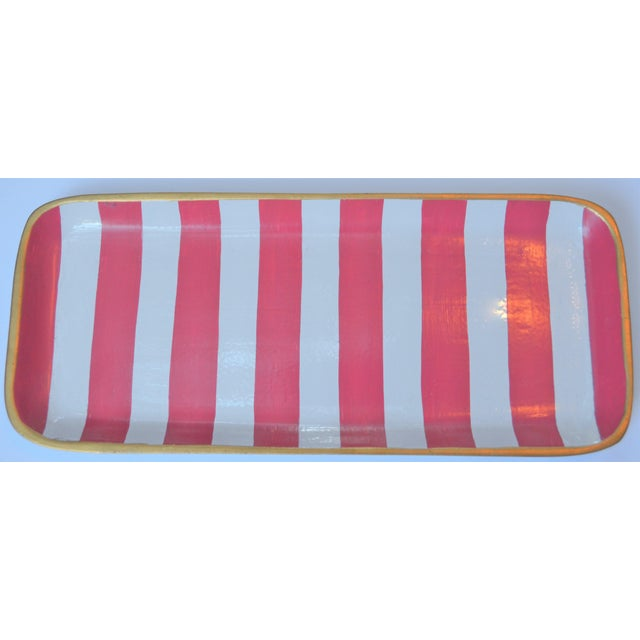 This is an very fun Dana Gibson, ceramic trinket tray in a melon and white striped design. This is a hand painted tray and...