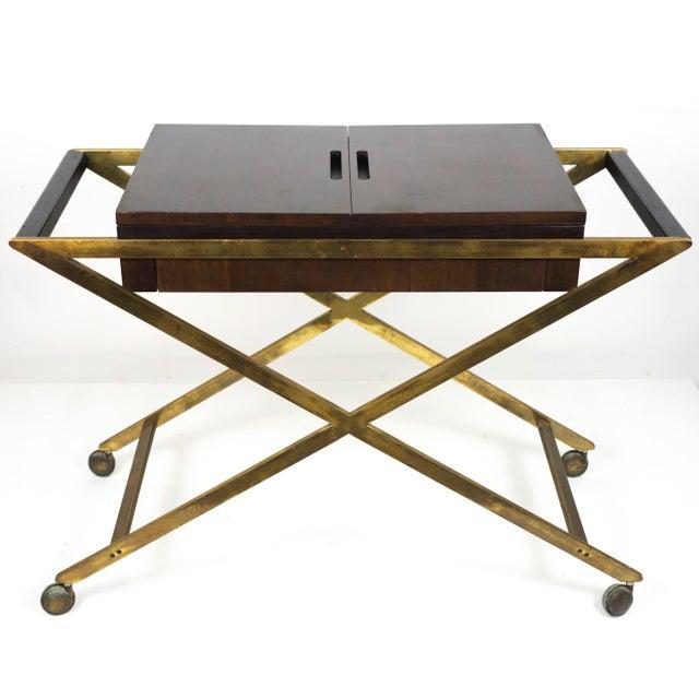 1960s Vintage Widdicomb Brass X Base Bar or Serving Cart For Sale - Image 10 of 11