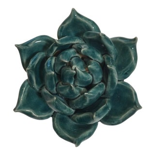 Teal Ceramic Succulent Figurine For Sale