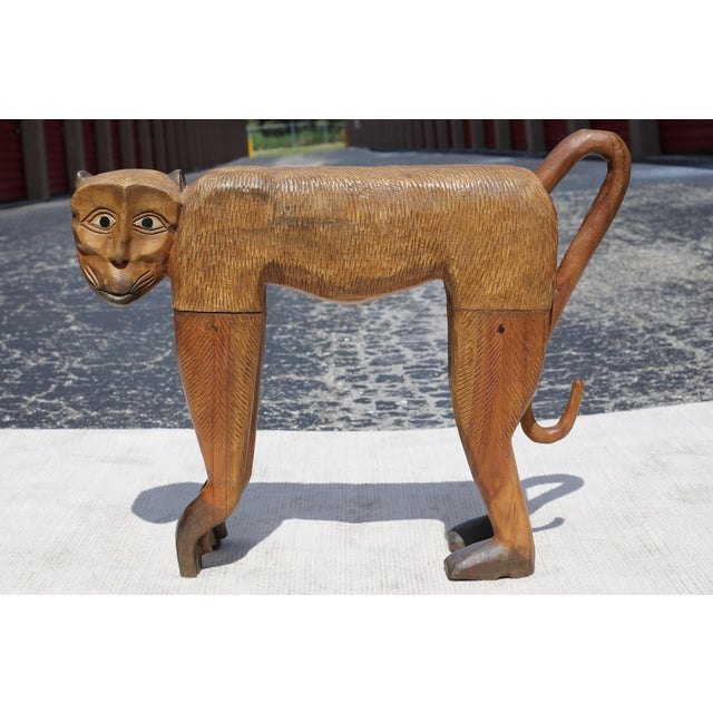 1970s Vintage Hand-Carved Wood Chimpanzee Sculpture For Sale - Image 5 of 7