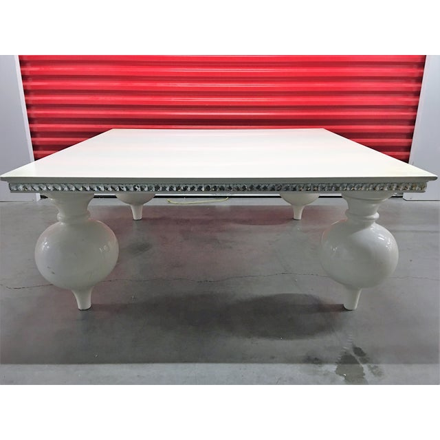 White Lacquer Coffee Table with Mirrored Edges - Image 2 of 6