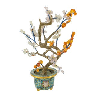 Vintage Chinese Cloisonne Jade Tree For Sale