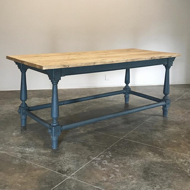 Antique Painted Dining Table With Stripped Top For Sale - Image 12 of 12