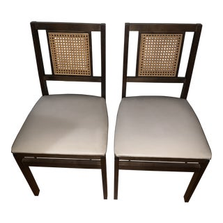 1960s Vintage Stakmore Folding Chairs With Caning - a Pair For Sale