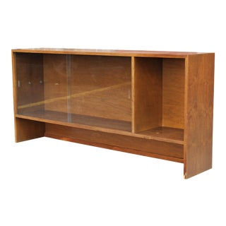 Walnut Bookshelf with Sliding Glass Doors For Sale